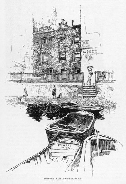 JMW TURNER House in Cheyne Walk, Chelsea, where the artist died on 19 December 1851: a view from the river