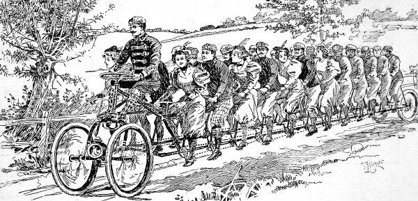 Illustration of a Tricycle for twenty-five, designed by the Herald Cycle Company, New York, 1896. This machine was being built for the Nynuke Bicycle Club of Brooklyn, at a cost of 120, in October of that year&quot