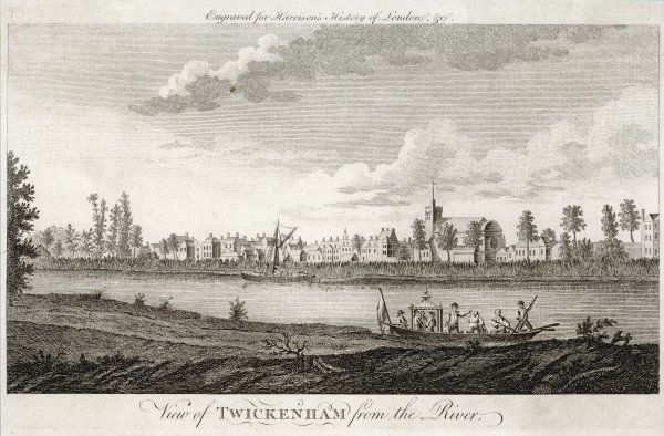 Twickenham, Middlesex, seen from across the Thames: an elegant boat is landing its passengers on the bank. Date: circa 1770