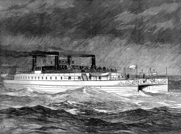 Engraving of the twin-hulled, paddle steamer 'Castalia', September 1874. Launched in that year, for the English Channel Steamship Company, her radical design was intended to improve stability and sea-keeping. However the design was not a success