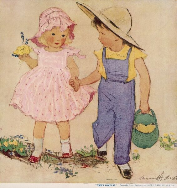 A little boy in blue dungarees and a wide brimmed sun hat, holds hands with a little girl wearing a pink dress and bonnet as they walk together picking flowers