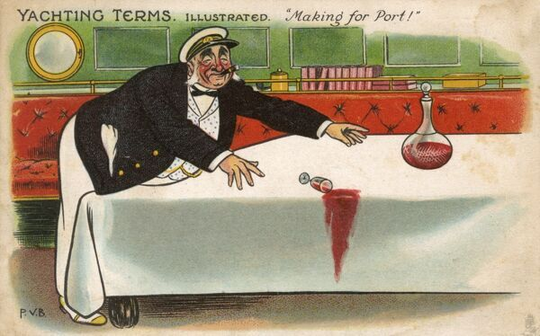 Yachting Terms illustrated: 'Making for Port'. A rich tycoon on the high seas reaching across the moving table for the decanter of port with a total lack of success! Date: 1908