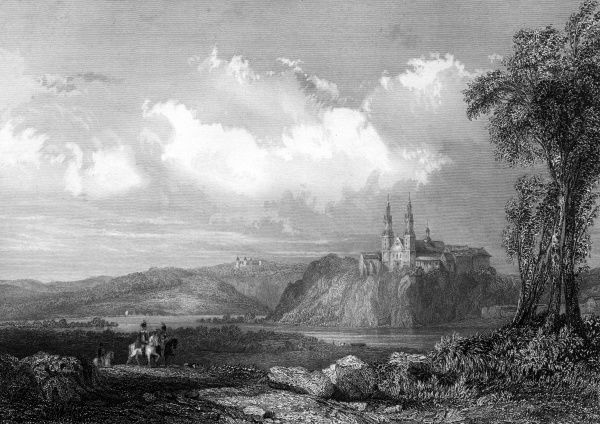 The convent and church, seen across the Vistula river. Date: circa 1850