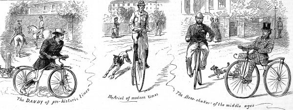 Engraving showing three ages in the development of the Bicycle: on left, 'The Dandy of pre-historic times' - an early 19th century bicycle, without pedals, propelled by foot