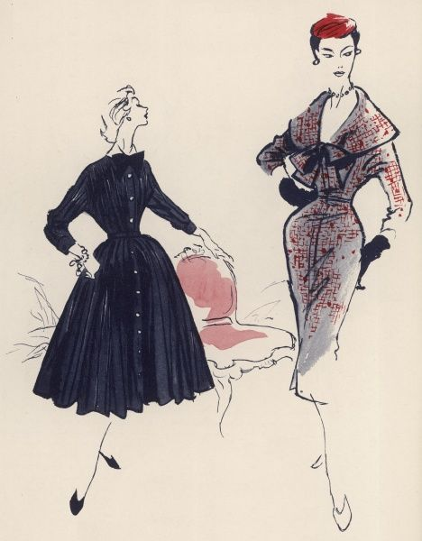 On the left, an 1890-inspired party frock in striped taffeta with the stand-up collar, tight bodice, near-crinoline skirt, and steel-buttoned, three-quarter sleeves characteristic of a decade when fashion reached an all-time height of dash and distinction