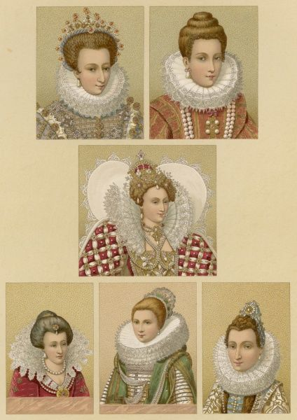 French and English ladies wearing elaborate RUFFS