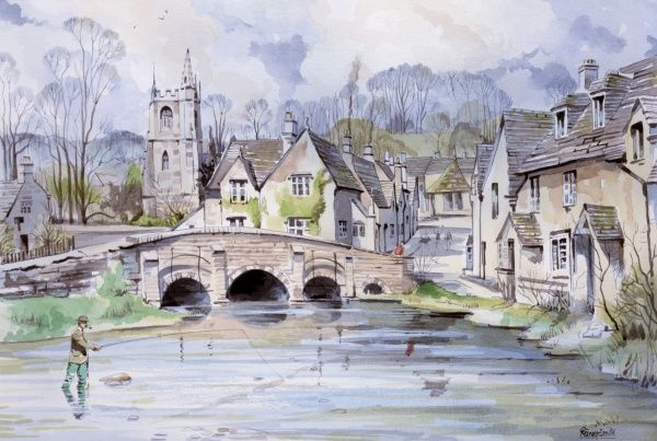 A view of typical English village A local gentleman is fishing in the stream, close to a bridge taking a road up toward the market square and parish church. Painting by Malcolm Greensmith