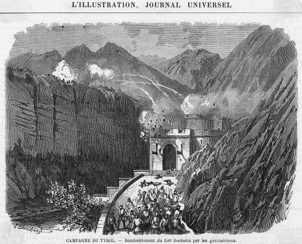 Garibaldi's forces bombard the Austrians at Fort Rochetta in the Italian Tyrol