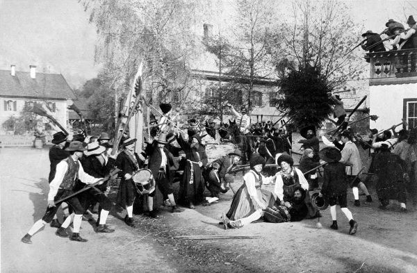 Photograph showing a Tyrolese patriotic play, staged at Brixlegg in 1909, celebrating Andreas Hofer's leadership of the Tyrolese against Napoleon in 1809