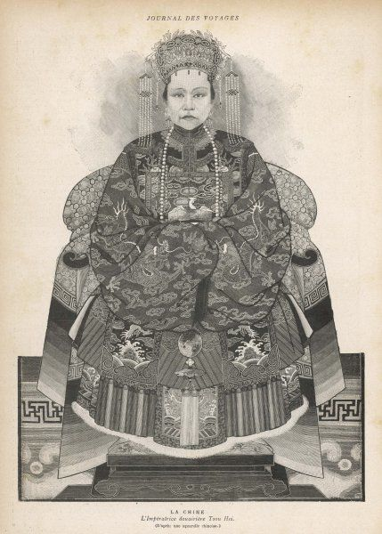 TZU-HSI, aka Hsiao-ch'in &c, Empress Dowager, concubine of emperor I-chu, mother of Tsai- ch'un, regent for nephew Tsai-t'ien, virtual dictator from 1875 to 1900