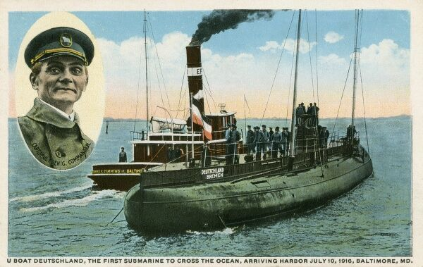 U-Boat 'Deutschland' - the first submarine to cross the Atlantic Ocean - pictured arriving in Baltimore with Civilian Captain Paul Konig in July 1916. A civilian captain was employed to prove that the vessel had no military intent - however