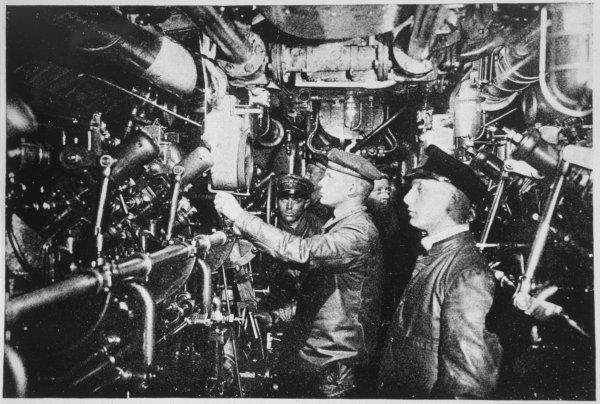 In the motor-room of a German U-boat