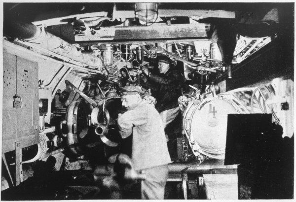 In the engine-room of a German U-boat