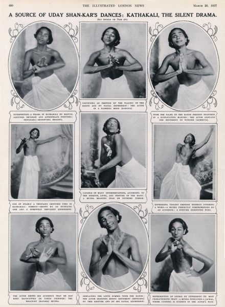 The renowned Indian dancer and choreographer Uday Shankar in a variety of poses influenced by the dance-drama form, Kathakali, which originated in Kerala