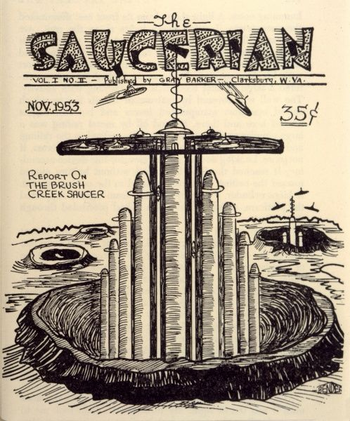 Bender's cover for the second issue of Gray Barker's magazine 'The Saucerian', incorporated his visualisation of a saucer base and led to a visit from the 'Three Men&#39