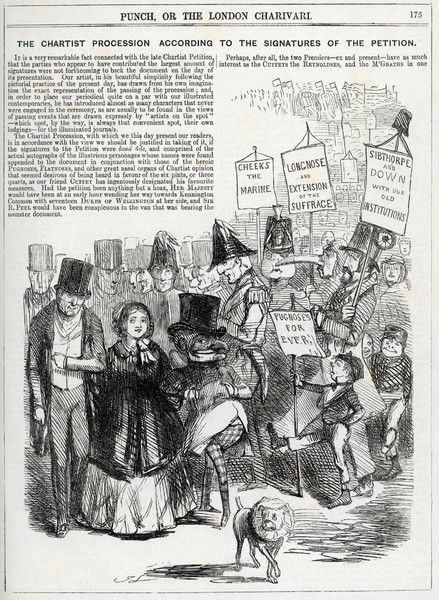 Cartoon of a hoax petition which included the signatures of Queen Victoria, seventeen (!) Dukes of Wellington and others!