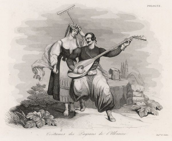 A peasant couple from the Ukraine : he makes music, she makes hay with no shoes on but a prettily ornamented hat