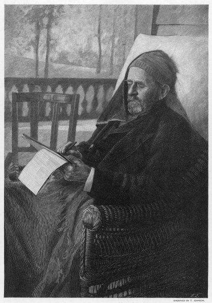 ULYSSES S GRANT American Civil War General, and later President, writing his memoirs at Mount McGregor