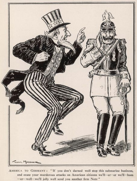 Satirical cartoon showing the United States of America feebly remonstrating with Kaiser Wilhelm II, threatening him ineffectively about Germany's U-boat policy. America would finally enter World War One in 1917