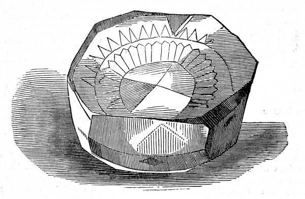 Engraving of the Koh-i-noor ('mountain of light') diamond, in its original state, circa 1851