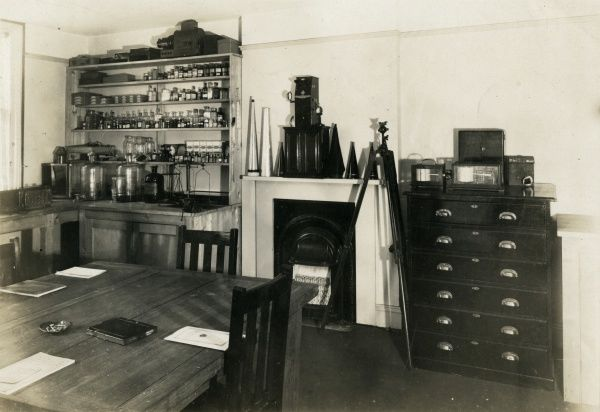 Undated photograph of the corner of the chemical laboratory at the National Laboratory of Psychical Research. HPG/1/2/1 (ii)