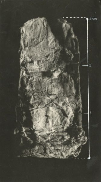 "Undated photograph of enlarged piece of ""teleplasm"" consisting of ordinary paper, secured from Helen Duncan during a sance, with scale annotations"