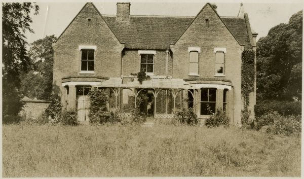 Undated, sepia photograph of Borley Rectory from the front. HPG/1/3/3 (vii)