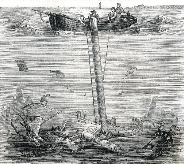 The 'underwater explorer' of de Collange and Jobard solves the problem of air supply, but at the cost of manoeuvrability - the air pipe would need to be flexible and extensible. Date: 1855