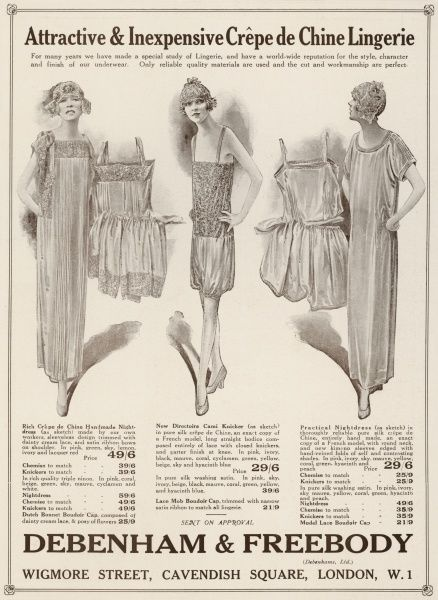 A silk crepe nightgown with wing sleeves & pin tucks & chemise & knickers to match; pleated cami-knickers; princess petticoat & knickers composed of fine pleats