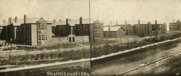 The Wigan Union infirmary, Upholland Road, Wigan - an unusual composite of two photographs. The infirmary, later known as Billinge Hospital, was opened in 1906 to provide medical facilities for the sick poor away from the workhouse. The separate doors