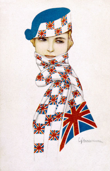 A patriotic girl wrapped up in a scarf covered with union jacks. She also has them on the brim of her hat. Date: 1917