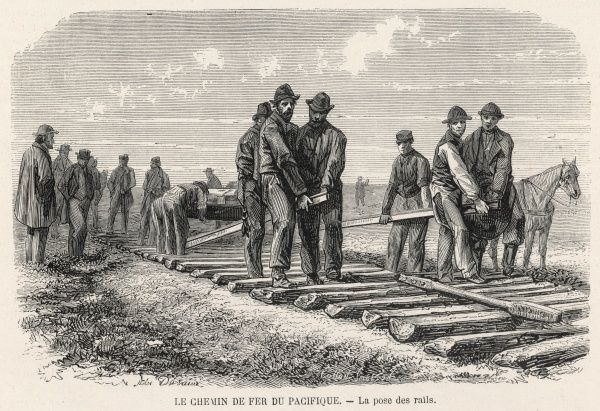 Laying track for the Union Pacific as it extends towards the western territories