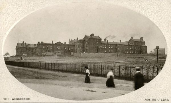 The Union workhouse erected in 1849-50 at Chamber Hills, Ashton under Lyne, Lancashire, on what is now Fountain Street. The site is now Tameside Hospital