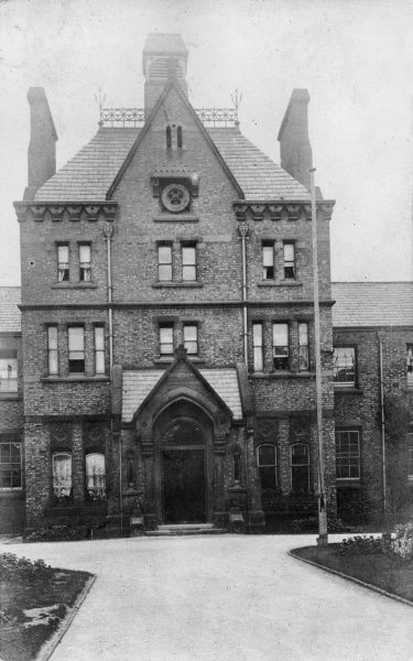 View of the school/sanatorium entrance of the Birkenhead Union workhouse in Church Road, Higher Tranmere, Birkenhead, Cheshire. The workhouse, designed by Thomas Layland of Liverpool, opened in 1864. It later became Birkenhead Municipal Hospital