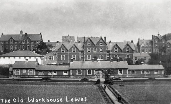 The Lewes Union workhouse, erected in In 1868 on De Montfort Road, Lewes, Sussex. In 1902, after its closure as a workhouse, the site briefly became the Southern Counties Inebriates Reformatory run by the Reverend Harold Burden