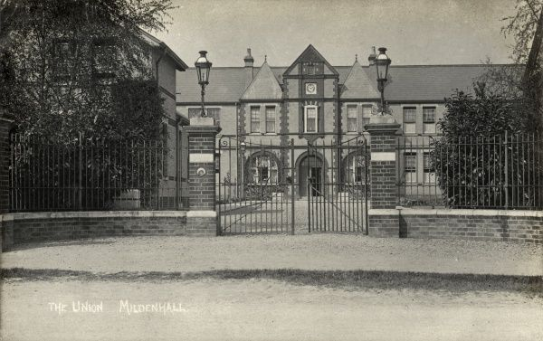 The Mildenhall Union workhouse on King's Way, Mildenhall, Suffolk. Opened in 1895, it replaced the previous premises elsewhere in the town which had become inadequate