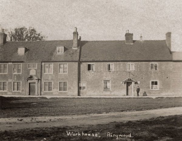 The Ringwood Union workhouse at Ashley, Hampshire. The building, originally the Ringwood parish workhouse dating from 1725, was taken over and adapted by the Ringwood Union after its formation in 1835
