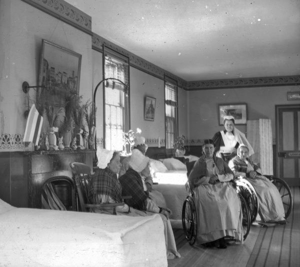 Interior of a women's ward in the Tonbridge Union workhouse, Kent