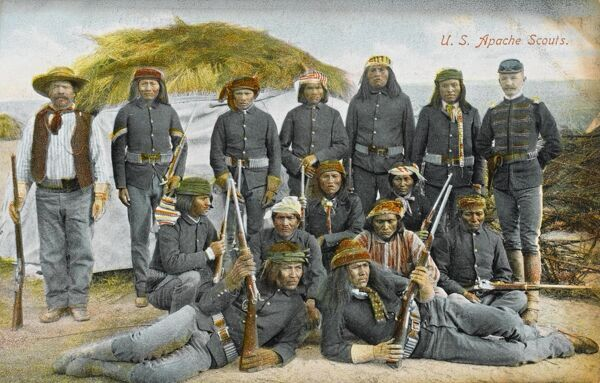 United States Army - Apache Scouts - wearing standard issue uniform but allowed to embellish this with traditional tribal headwear and scarves