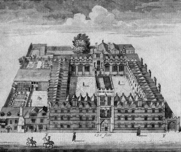 Bird's eye view of University College, Oxford. Date: 17th century
