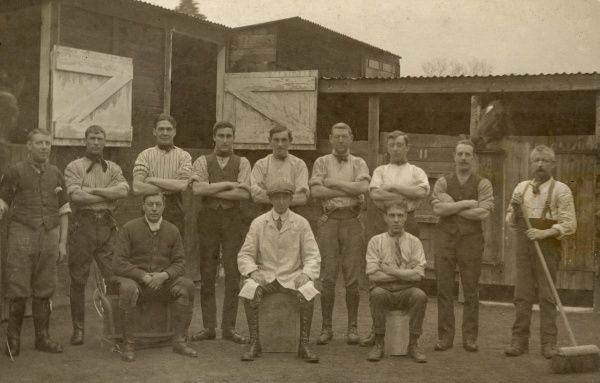 The staff of an unknown Racing Stables, England Date: circa 1910s