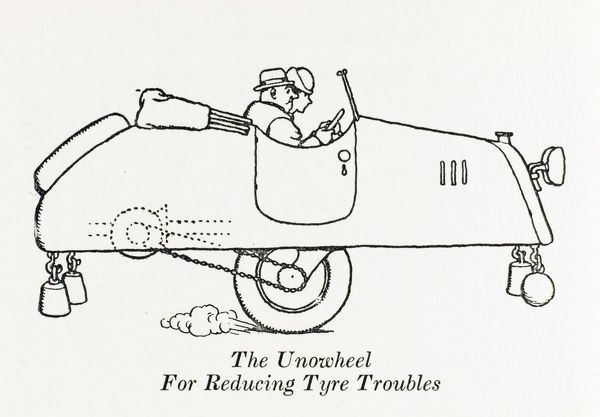 The 'Unowheel' car, for reducing tyre troubles. Please note: Credit must appear as (c) Courtesy of the estate of Mrs J.C.Robinson/Pollinger Ltd/Mary Evans Picture Library