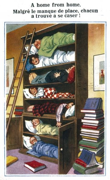 A sleeping cupboard with seven shelves for seven people, plus the essential ladder!
