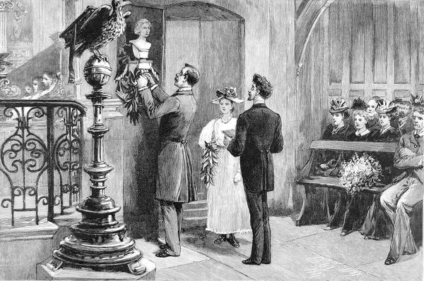 Engraving showing the unveiling of the John Keats bust in Hampstead Parish Church, 1894. This was the first public memorial to Keats in Britain and was presented by the poet's American admirers