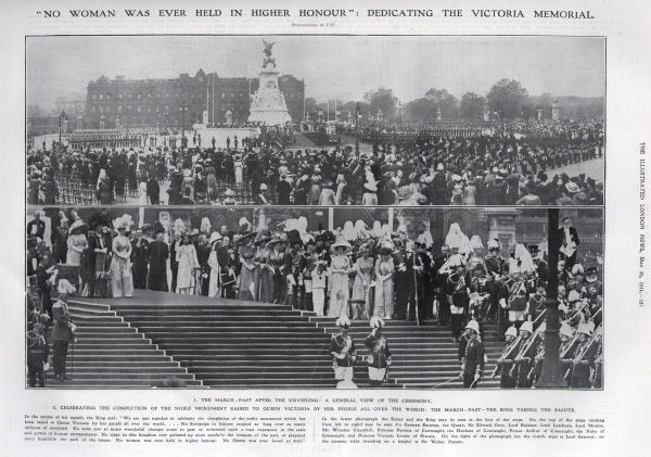 Unveiling ceremony of the Queen Victoria Memorial statue outside Buckingham Palace on 16 May 1911. The top photograph shows the march past after the unveiling while the bottom image shows the King, George V, taking the salute