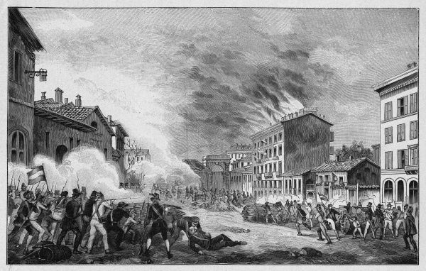 Street fighting and burning buildings during the 'Quinta Giornata' (five-day revolt) at Milano