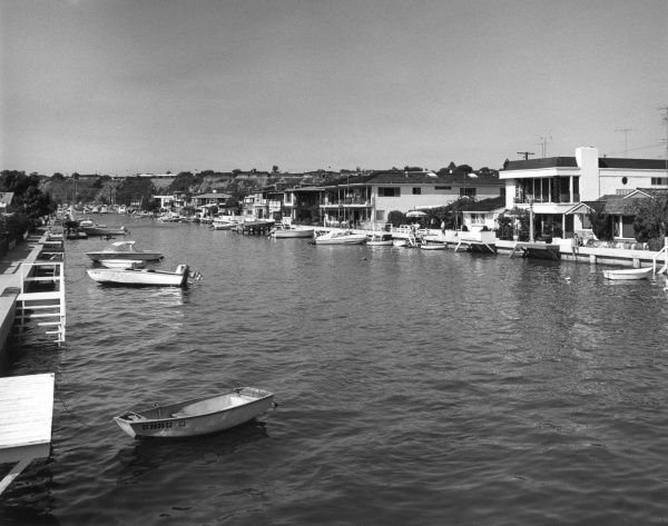 View of part of Balboa Island, California, U.S.A. Date: late 1960s