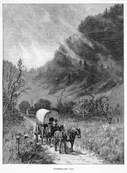 The Cumberland Gap, a pass through the Cumberland plateau in Tennessee, was a notable landmark for settlers traveling to the West
