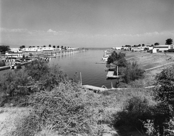 The marina on the Salton Sea, Desert Springs, California, U.S.A. Date: 1960s