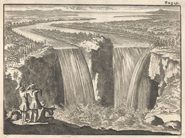 The first depiction of the Niagara Falls, engraved from the drawing by the French missionary & explorer Hennepin